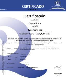 Certificado de Calidad de Restaurante Ambivium
